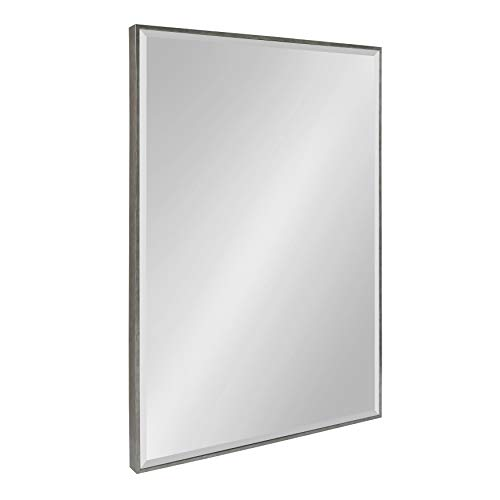 Kate and Laurel Rhodes Large Framed Decorative Rectangle Wall Mirror, 25x37 Dark Silver