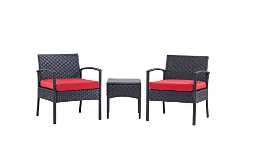 PCAFRS 3 Piece Patio Furniture Set PE Rattan Wicker 3 Pcs Outdoor Wicker Rattan Conversation Set with Coffee Table Chairs amp Thick Cushions Conversation Chair Set for Garden Porch Poolside Red