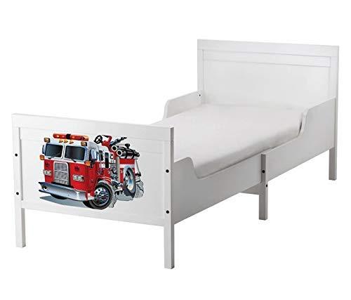 Set Möbelaufkleber für Ikea SUNDVIK Bett Schlafzimmer Kinderzimmer Feuerwehr Feuerwehrauto Kat2 Boy SU2 Aufkleber Möbelfolie sticker (Ohne Möbel) Folie 25U2763