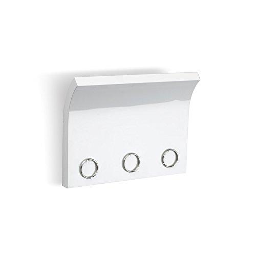 Umbra Magnetter Magnet Schlüsselhalter und Briefhalter für Wand zur Aufbewahrung von Schlüssel, Brille, Post und Mehr – Ideal für den Flur, Holz / Weiß