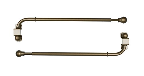 Versailles Home Fashions Pair of Swing Arm with Ball Finial, Antique Brass, 14 by 24-Inch