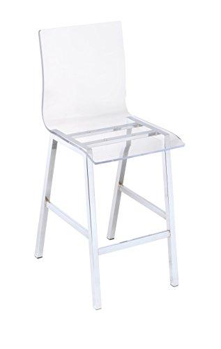 ACME Nadie Counter Height Chair (Set-2) - 72592 - Clear Acrylic & Chrome