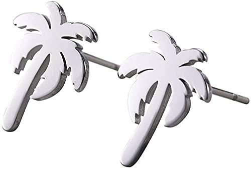 AMOZ Pendientes de Botón de Palmera de Coco de Acero Inoxidable Diseño Hueco Geométrico Pendientes de Encanto Hipoalergénicos Minimalistas,Plata