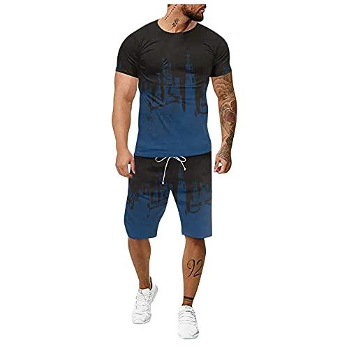 Herren Short-Jogginganzug Shortanzug Sportanzug Short T-Shirt Männer Trainingsanzug 2-teiliges Outfit Kurzarm Shirts + Kurze Hose Sets Freizeitanzug Fitness Gym Running Herren Trainingsanzug Set