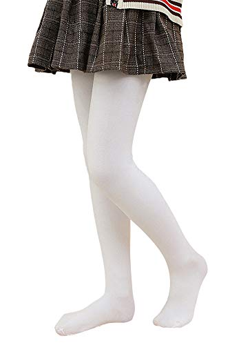 LOLANTA Pantalones de invierno para niñas Leggings cálidos Medias opacas de vellón grueso (Blanco, 6-8 años)