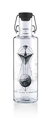 soulbottles *All Black Set 0,6l Trinkflasche aus Glas - Motiv Whoever understands Geometry + *NEU* komplett schwarzer Deckel + schwarzer Gummiring – plastikfrei, auslaufsicher, spülmaschinenfest