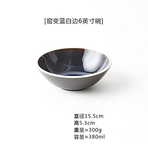 Teller Japanische Keramik Kunstofen Blau Und Weiß Rand Deep Plate Salatschüssel Home 6 Zoll Rice Bowl Restaurant Dessert Geschirr B-6Inches