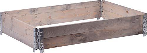 dobar Rechteckige Pflanzbeet-Umrandung aus Holz, Faltbarer Garten, 120 x 80 x 20 cm, grau, Kiefer Pflanzkasten
