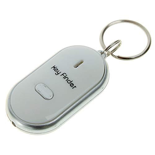 Demiawaking Localizzatore per chiavi, con luce a LED, colore bianco, antismarrimento, con sistema di rilevazione sonora mediante fischio