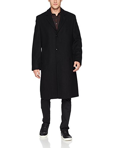 LONDON FOG Men's Signature Wool Blend Top Coat, Black, 42R