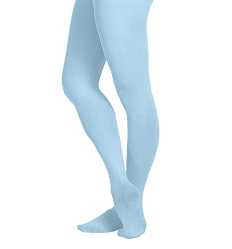 EMEM Apparel Girls' Kids Childerns Solid Colored Opaque Dance Ballet Costume Microfiber Footed Tights Stockings Fashion Light Blue 6-8