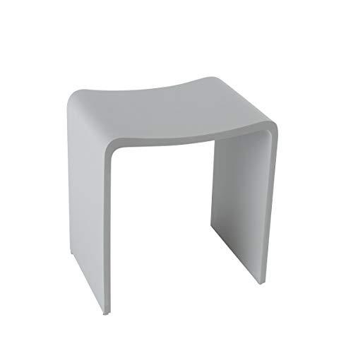 KKR Design Badhocker Duschhocker aus Mineralguss in den Farben Weiß, Grau und Schwarz sowie in den Oberflächen Matt und Glänzend verfügbar, Oberfläche:Grau Matt