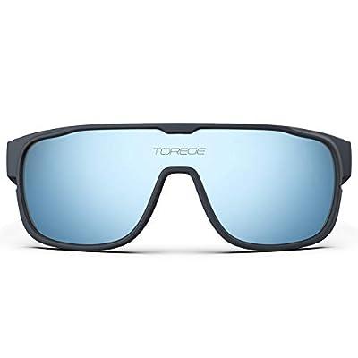 TOREGE Polarized Sports Sunglasses For Man Women Cycling Running Fishing Golf TR90 Unbreakable Frame TR13 Racer (Matte Grey&Blue&Light Blue Lens)