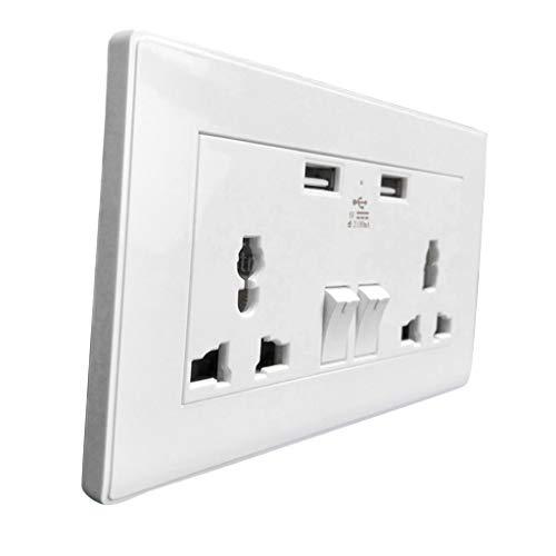 Bg 13A 3.1A 2.1A double socket avec téléphone usb i pad i phone ports de charge blanc