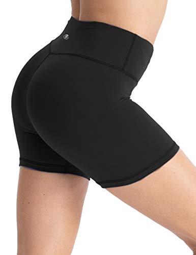 Hopgo Damen 10,2 cm Training Bike Shorts High Waist Workout Shorts Bauchkontrolle Yoga Shorts Tight Innentasche - Schwarz - Klein