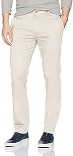 سروال رجالي من لويس رافاييل مصنوع من قطن التويل المرن بقصة ضيقة ومسطح من الأمام