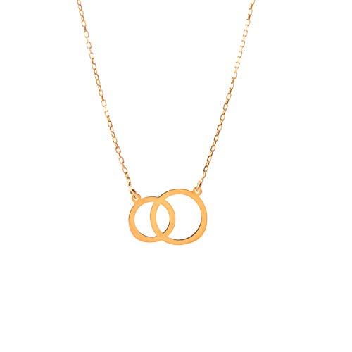 Lumarigold Gouden dameshalsketting 585 14 k goud geelgoud ketting met hanger twee ringen gravure