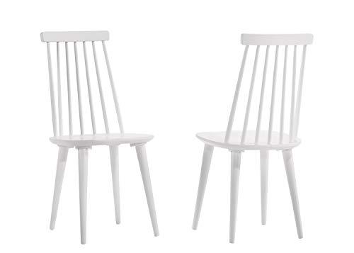 Duhome 2er Set Esszimmerstuhl aus Holz Grau lackiert Küchenstuhl Rückenlehne geschwungen Retro Design Modell Clovis, Farbe:Weiss, Material:Holz