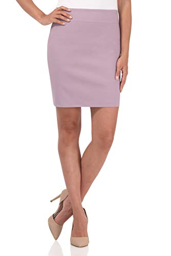 Rekucci Women's Ease Into Comfort Above The Knee Stretch Pencil Skirt 19 inch (Small,Lavender Mist)