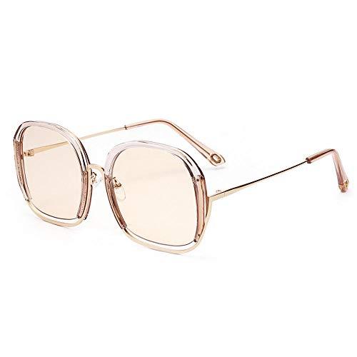 Jbwlkj Quadratische Sonnenbrille Für Damen Luxusbrillen Uv400 Übergroße Herren Sonnenbrille Mode Transparenter Rahmen-Braun