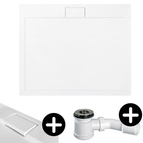 Duschwanne Duschtasse EXTRA FLACH Rechteck 120x80 cm weiß glatt + Ablaufgarnitur McAlpine fi 50 Bad SET Abdeckplatte Sanitär-Acryl