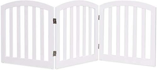 COSTWAY Barrera de Seguridad para Perros Valla Protección de Madera Plegable para Habitación Puerta Escalera Blanca