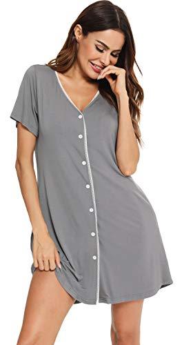 Vlazom Damen Nachthemd Damen Schlafanzug Pyjama Sommer Nachtwäsche Umstandskleidung Damen Geburt Stillnachthemd mit Durchgehender Knopfleiste(L,Dunkelgrau)