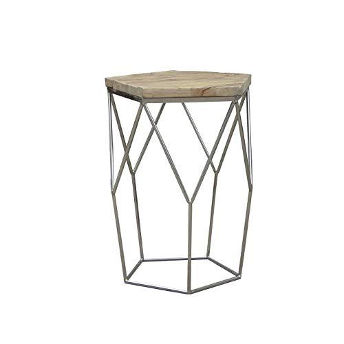 Perum bijzettafel van gerecycled hout en staal, serie Gype, 59 x 50 x 50 cm