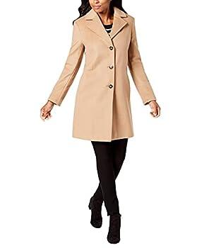 Calvin Klein Women s Classic Cashmere Wool Blend Coat CAMEL 8