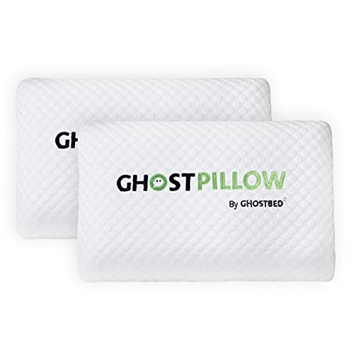GhostBed Memory Foam Pillow - Cooling & Contouring Gel Memory Foam with Ergonomic Design & Patented Cooling Layer, 2 Pack