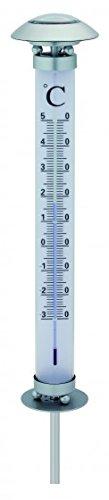 Unbekannt Solar Thermometer mit Beleuchtung Metall LED Licht 112 cm