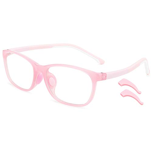 livho Kids Blue Light Blocking Glasses, Computer TV Gaming Eyeglasses for Boys Girls Age 3-15 Anti Glare & Eye Strain & UV Ray Filter (Pink)