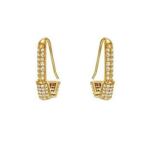 CandyT Pendientes de Diamantes geométricos Pendientes pequeños y versátiles de Alta Gama Pendientes de Red de Aguja de Plata 925