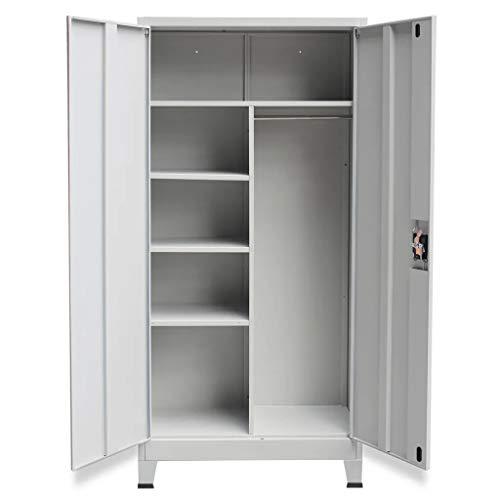 Armario archivador de Oficina 180 x 40 x 90 cm, Armario metálico con Dos Puertas, Armario Alto con Cerradura y estantes
