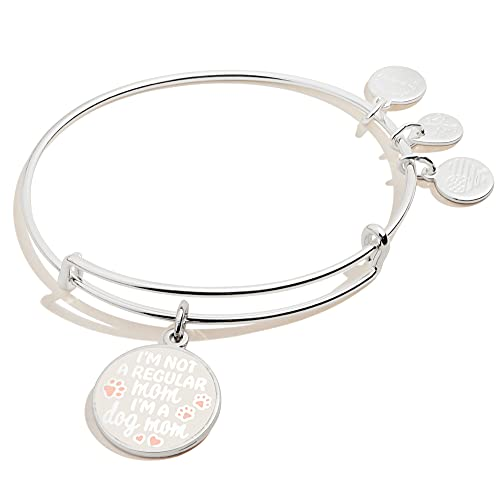 Alex and Ani Expandable Wire Bangle Bracelet for Women, I'm a Dog Mom Charm, Shiny Silver Finish, 2 to 3.5 in