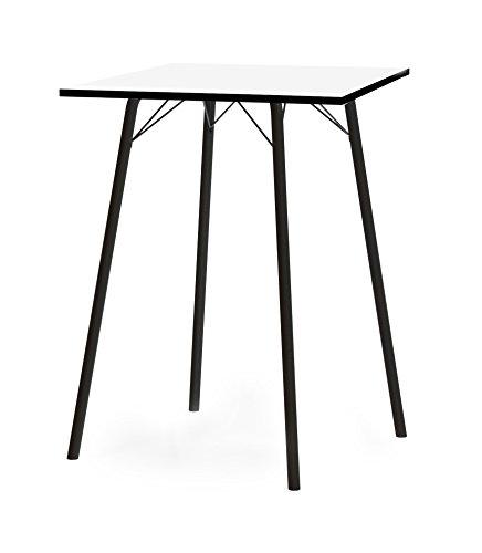 Tenzo 3614-906 Dine Designer Table de Bar, Plateau en Panneaux de Particules ép. 25 mm, mélaminé Blanc miniperle CPL, Chants Noirs, 105 x 80 x 80 cm (HxLxP)
