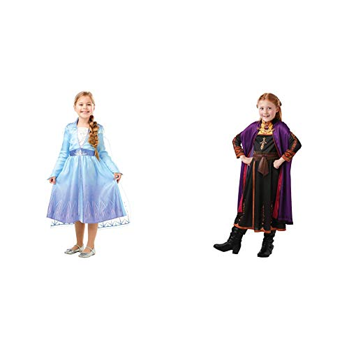 Disney, Elsa Travel Frozen2 Classic Disfraz de Elsa Travel, Multicolor, M (5-6 aos) + Frozen 2 Classic Disfraz Anna Travel, S, Multicolor, (Rubie'S 300289-S)