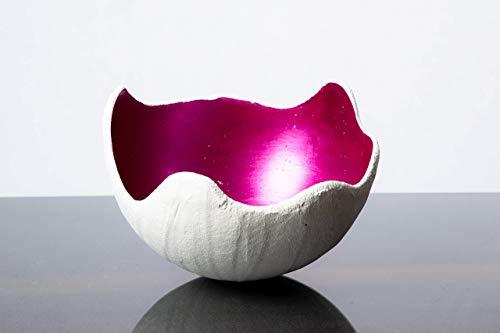 Lichtschale magenta - M (20cm) - Beton weiss - Muttertagsgeschenk - Unikat handmade - Geburtstagsgeschenk - Geschenkidee