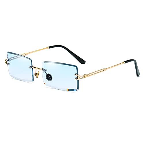 Gafas de sol con montura cuadrada ultra pequeña para mujer Hombre Gafas de sol sin montura retro con lente transparente