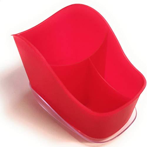 Panier à couverts Kerafactum - Panier à vaisselle pour couverts et petites pièces - Panier de lave-vaisselle universel - Range-couverts ovale - Rouge - 3 compartiments - Mailles grossières - Sans BPA