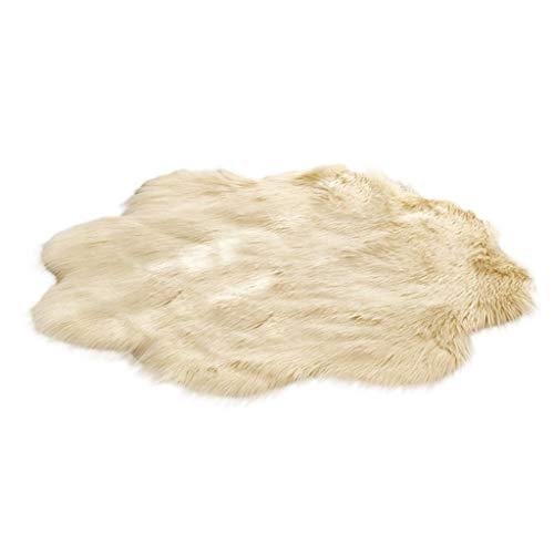 Mamum Tapis de Canapé Coussin, 90x90CM Peau de Mouton synthétique,Cozy Sensation comme véritable Laine Tapis en Fourrure synthétique (Jaune)