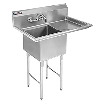 "Stainless Steel Kitchen Sink with Faucet - DuraSteel 1 Compartment Commercial Utility Sink w/Right Drainboards - 18"" x 18"" x 12"" Bowl Size - For Restaurant, Laundry, Garage & Backyard - NSF Certified"