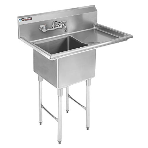 """Stainless Steel Kitchen Sink with Faucet - DuraSteel 1 Compartment Commercial Utility Sink w/Right Drainboards - 18"""" x 18"""" x 12"""" Bowl Size - for Restaurant, Laundry, Garage & Backyard - NSF Certified"""