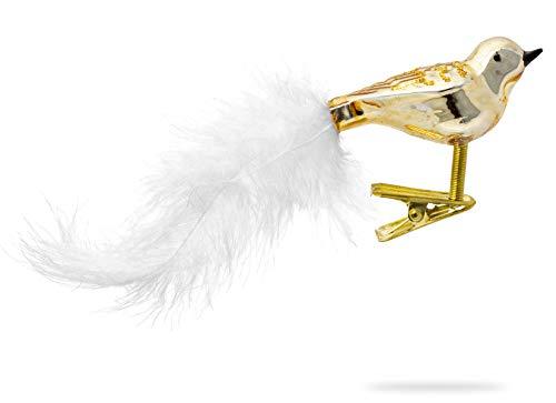 SIKORA BS460 3er Set traditioneller Christbaumschmuck aus Glas kleine Clip Vögel mit Federschwanz - Hochglanz - viele Farben, Farbe/Modell:Gold 3er Set, Größe:Länge ca. 11 cm