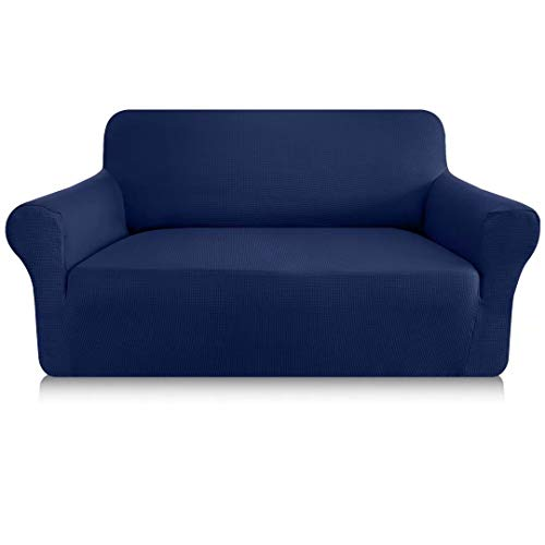 Granbest Funda de sofá elástica de 1 pieza para sofá de 2 plazas de 2 plazas, antiarañazos, antideslizante, de tela Jaquard Spandex, diseño elegante, funda para sofá (2 plazas, azul marino)