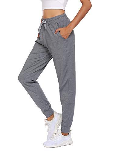 Balancora Sporthose Damen Skinny Jogginghose Cool Freizeithose für Hip-pop Fitness Jogging Alltags Hellgrau S