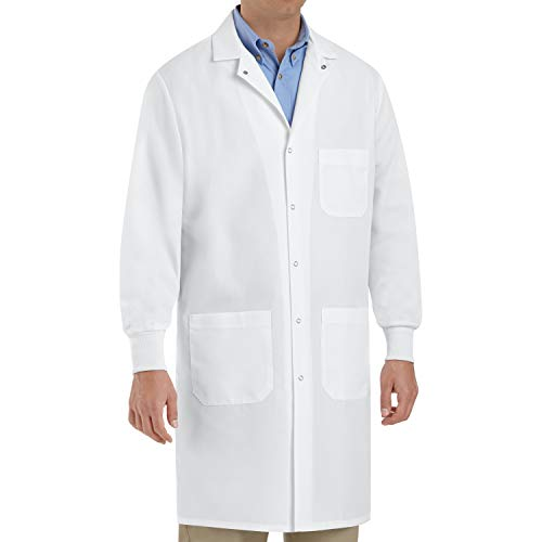 Red Kap Unisex Specialized Cuffed Lab Coat with 3 Front Pockets, White, X-Large