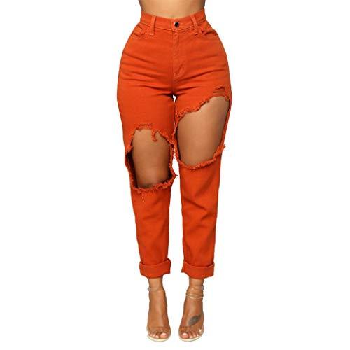 Aiserkly Moda Mujeres Primavera Verano Casual Estiramiento Jeans Mujer Cintura Alta Elástico Slim Lápiz Pantalones Verde rosso L
