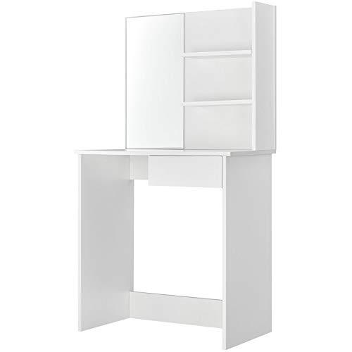 ArtLife Schminktisch Jenna mit Spiegel, Schubladen & Fächer | weiß | modern | Holz | Frisiertisch Kosmetiktisch Make-up Tisch Dressing Table