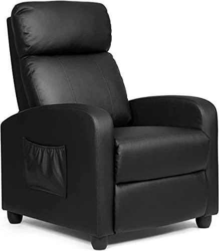RELAX4LIFE Relaxsessel mit Liegefunktion, Fernsehsessel bis 200 kg belastbar, TV-Sessel mit Verstellbarer Rückenlehne & Fußstütze, Sessel mit Seitentasche, Liegesessel für Wohnzimmer & Büro (Schwarz)